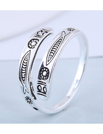 Fashion Silver Tropical Fish Embossed Alloy Split Ring