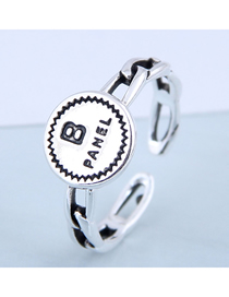 Fashion Silver Round Letter Openwork Ring