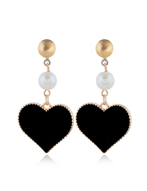 Fashion Black Drop Of Oil Hit Color Love Pearl Alloy Earrings