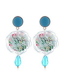 Fashion Blue Rose Flower Stud Earrings With Crystal Alloy