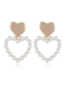 Fashion Flesh Pink Contrasting Oil Drop Heart Stud Earrings With Pearls