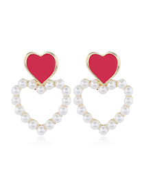 Fashion Red Contrasting Oil Drop Heart Stud Earrings With Pearls