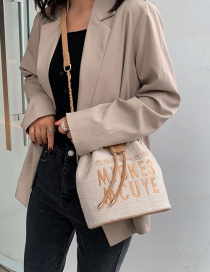 Fashion Khaki Drawstring Embroidery Letter Hand Bag Shoulder Bag