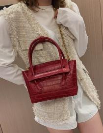 Fashion Red Crocodile Pattern Shoulder Bag