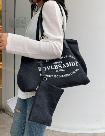 Fashion Full Black Letter Print Shoulder Bag