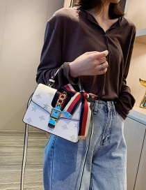 Fashion White Embroidered Bow Shoulder Bag