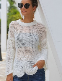 Fashion White Spliced ??openwork Perspective Knit Sweater