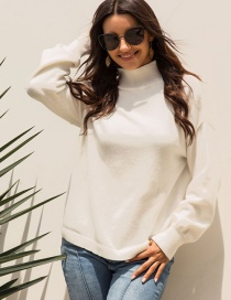 Fashion White Stand Collar Sweater