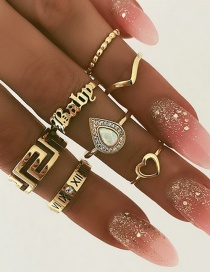 Fashion Gold Letter Baby Love Diamond Ring Set Of 7