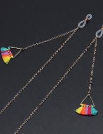 Fashion Gold Metal Colorful Fringed Triangle Glasses Chain