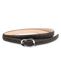 Fashion Dark Green Printed Japanese Word Buckle Imitation Leather Belt