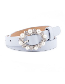 Fashion Sky Blue Pearl Pin Buckle Imitation Leather Belt