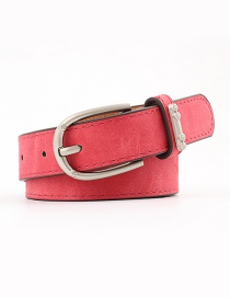 Fashion Red Alloy Accessories Ring Faux Leather Pin Buckle Flat Belt