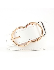 Fashion White Double Ring Pin Buckle Belt