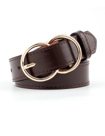 Fashion Coffee Double Ring Pin Buckle Belt