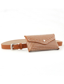 Fashion Camel Rivet Inlaid Belt Bag With Thin Belt