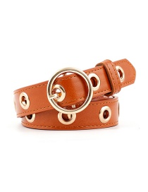Fashion Camel Round Buckle Hollow Out Air Eye Belt