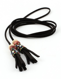 Fashion Black Lengthened Tassels And Thin Waist Chain