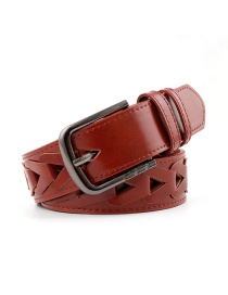 Fashion Red-brown Inlaid Triangle Pattern Hole Wide Belt