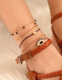 Fashion Gold Diamond Alloy Chain Heart-shaped Eye Anklet 4 Sets