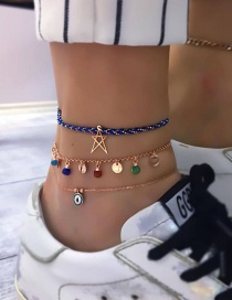 Fashion Gold Braided Wire Rope Alloy Hollow Star Disc Eyes Multi-layered Anklet