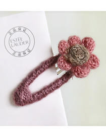 Fashion Pink Flower + Rose Pink Bb Clip Wool Weave Flower Hair Clip