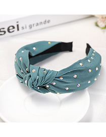 Fashion Green Fabric + Color Diamond Knotted Headband Cloth And Diamond Knotted Headband