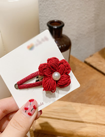 Fashion Wine Red Pearl Wool Flower Bb Clip
