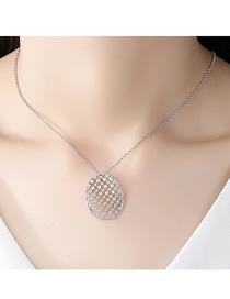 Fashion Platinum Openwork Copper And Zircon Necklace