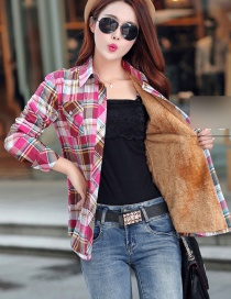 Fashion Coffee Red Plus Velvet Padded Plaid Shirt