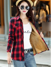 Fashion Red Black Grid Plus Velvet Padded Plaid Shirt