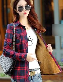 Fashion Blue Red Plus Velvet Padded Plaid Shirt