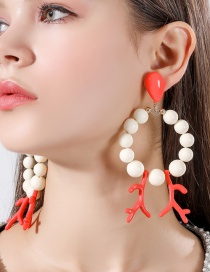Fashion Red Beaded Coral Earrings