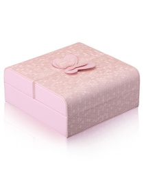 Fashion Pink Leather Jewelry Storage Box