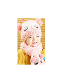 Fashion Pink Owl Cap + Scarf Set