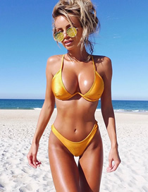 Fashion Yellow Solid Color Steel Plate Split Swimsuit