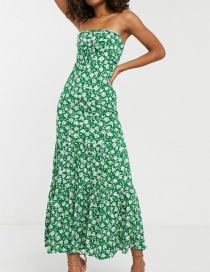 Fashion Green Tube Top Floral Dress