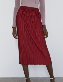 Fashion Red Wine Pleated Bag Hip Skirt