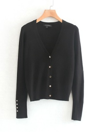 Fashion Black Buttoned Knit Cardigan