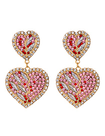 Fashion Pink Alloy Diamond Heart Earrings