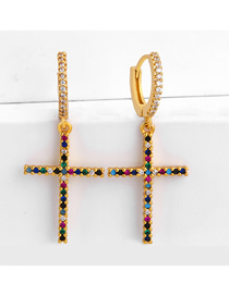 Fashion Cross Diamond Earrings