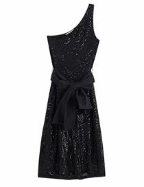 Fashion Black Sequined Asymmetrical Strap-shoulder Dress