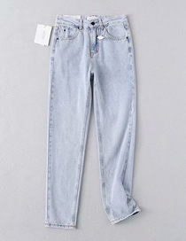 Fashion Light Blue Washed Small Straight Jeans