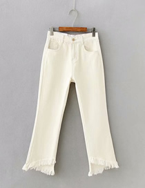 Fashion Apricot Washed Hem Irregular Fringed Edging Micro-rare Jeans