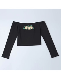 Fashion Black Sun Flower Embroidery One Shoulder T-shirt
