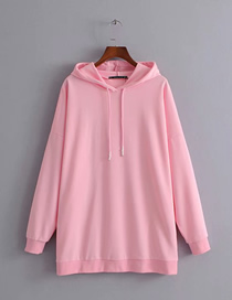 Fashion Pink Solid Color Hooded Sweater