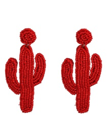 Fashion Red Cactus Rice Beads Double Earrings