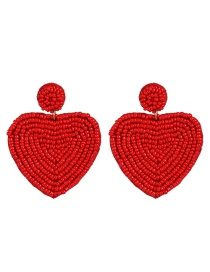 Fashion Red Heart-shaped Rice Beads Double-sided Earrings