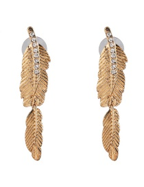 Fashion Gold Golden Feather Stud Earrings