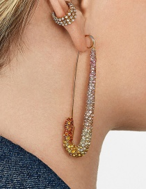 Fashion Color Color Safety Pin Earrings